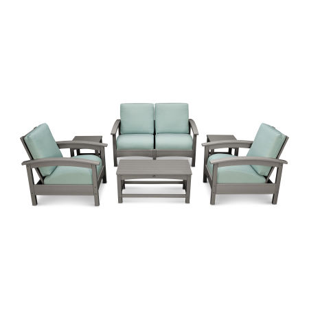 Rockport Club 6 Piece Deep Seating Conversation Set in Stepping Stone / Spa