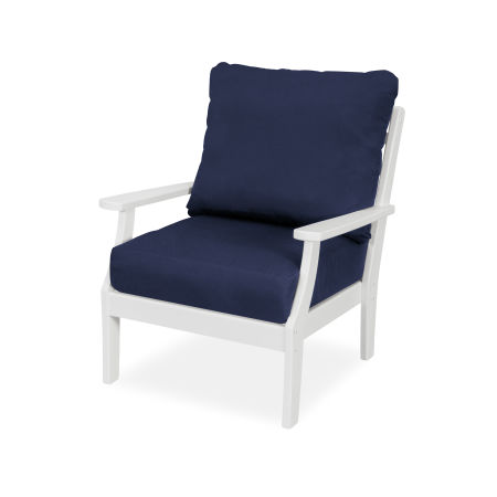 Yacht Club Deep Seating Chair in Classic White / Navy
