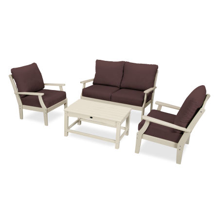 Yacht Club 4-Piece Deep Seating Chair Set in Sand Castle / Cast Currant
