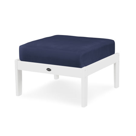 Yacht Club Deep Seating Ottoman in Classic White / Navy