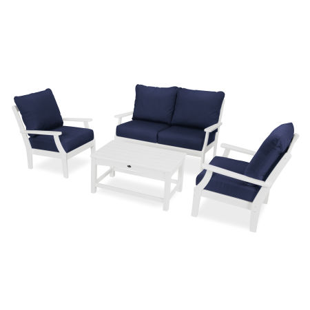 Yacht Club 4-Piece Deep Seating Chair Set in Classic White / Navy