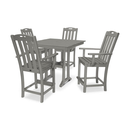 Yacht Club 5-Piece Farmhouse Arm Chair Counter Set in Stepping Stone