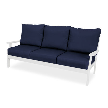 Yacht Club Deep Seating Sofa in Classic White / Navy