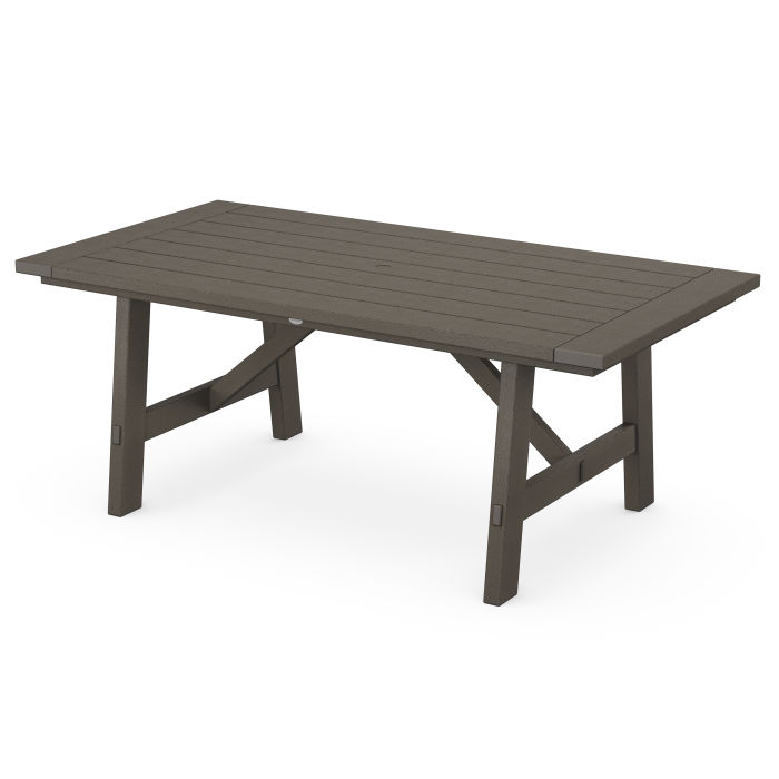 """Rustic Farmhouse 39"""" x 75"""" Dining Table in Vintage Finish"""