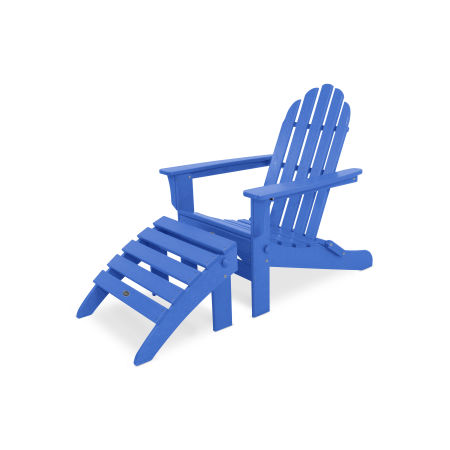 Cape Cod 2-Piece Folding Adirondack Seating Set in Pacific Blue