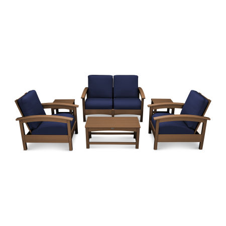 Rockport Club 6 Piece Deep Seating Conversation Set in Tree House / Navy
