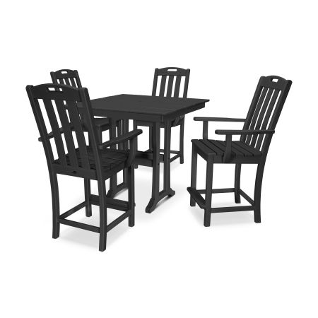 Yacht Club 5-Piece Farmhouse Arm Chair Counter Set in Charcoal Black