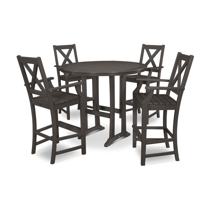 Braxton 5-Piece Nautical Trestle Arm Chair Bar Set in Vintage Finish