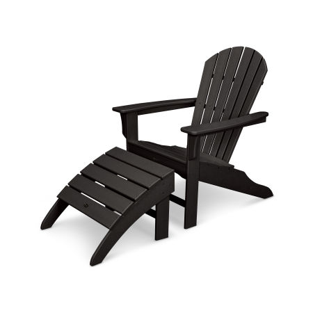 Yacht Club Shellback 2-Piece Adirondack Seating Set in Charcoal Black