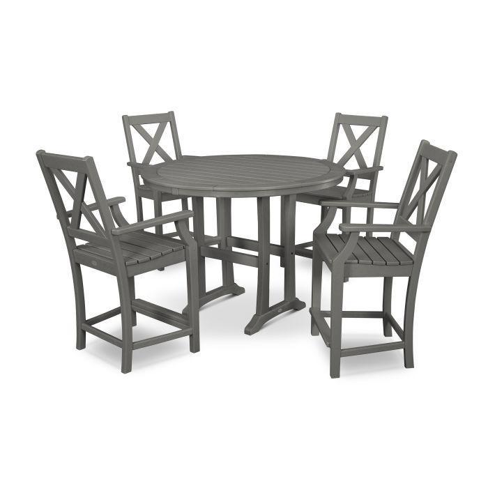 Braxton 5-Piece Nautical Trestle Arm Chair Counter Set