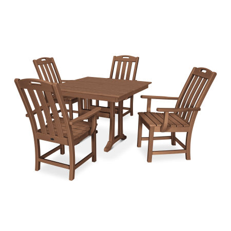 Yacht Club 5-Piece Farmhouse Arm Chair Dining Set in Tree House