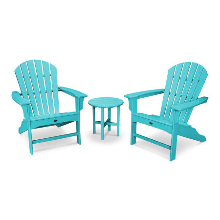 Yacht Club Shellback 3-Piece Adirondack Set in Aruba
