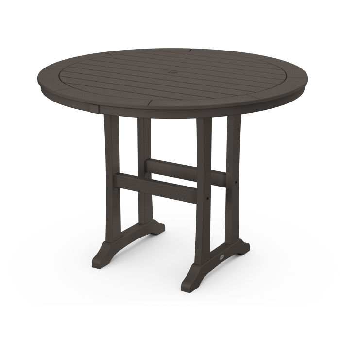 """Nautical Trestle 48"""" Round Counter Table in Vintage Finish"""