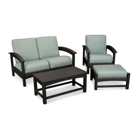 Rockport 4-Piece Deep Seating Conversation Group in Charcoal Black / Spa