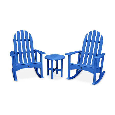 Cape Cod 3-Piece Adirondack Rocker Set in Pacific Blue