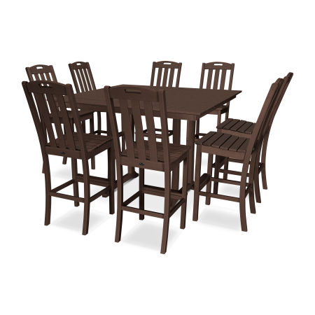 Yacht Club 9-Piece Farmhouse Side Chair Bar Set in Vintage Lantern