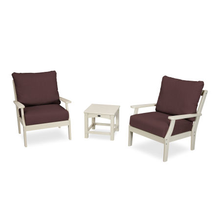 Yacht Club 3-Piece Deep Seating Set in Sand Castle / Cast Currant
