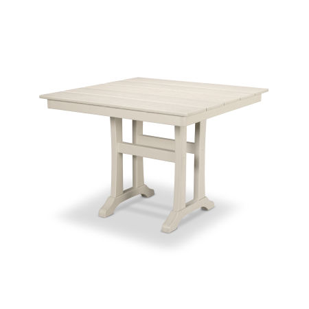 "Farmhouse Trestle 37"" Dining Table in Sand Castle"