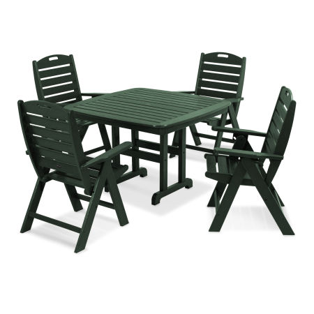 Yacht Club Highback 5-Piece Dining Set in Rainforest Canopy