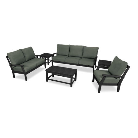 Yacht Club 6-Piece Deep Seating Set in Charcoal Black / Cast Sage