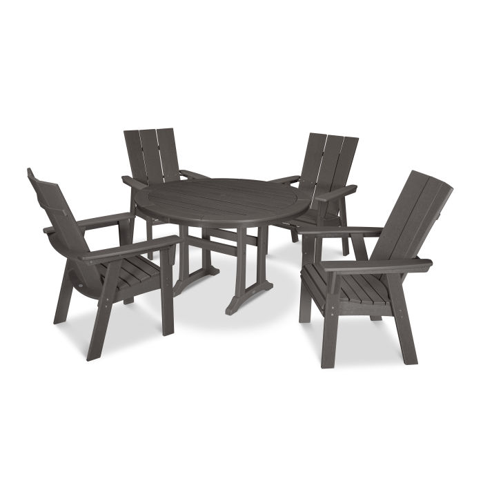 Modern Curveback Adirondack 5-Piece Nautical Trestle Dining Set in Vintage Finish