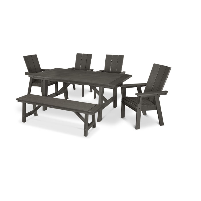 Modern Curveback Adirondack 6-Piece Rustic Farmhouse Dining Set with Bench in Vintage Finish