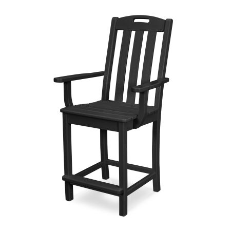 Yacht Club Counter Arm Chair in Charcoal Black