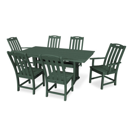 Yacht Club 7-Piece Farmhouse Dining Set in Rainforest Canopy