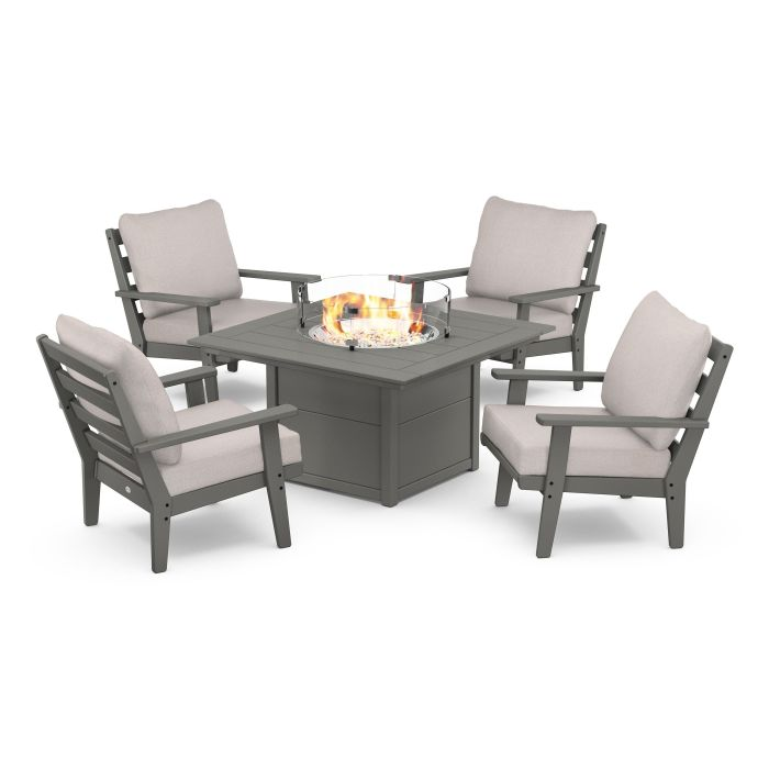 Grant Park 5-Piece Deep Seating Conversation Set with Fire Pit Table