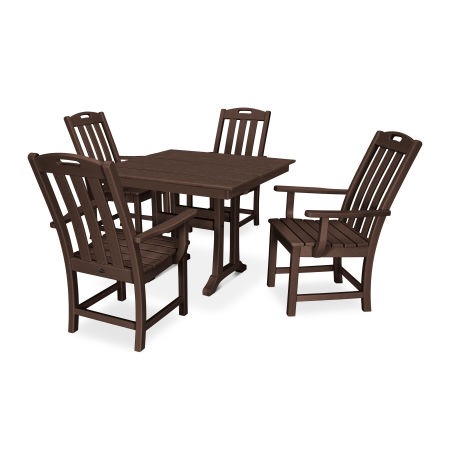 Yacht Club 5-Piece Farmhouse Arm Chair Dining Set in Vintage Lantern