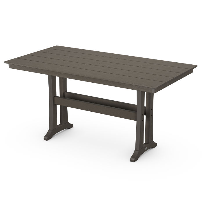 "Farmhouse Trestle 37"" x 72"" Counter Table in Vintage Finish"