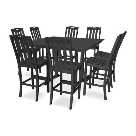 Yacht Club 9-Piece Farmhouse Side Chair Bar Set in Charcoal Black