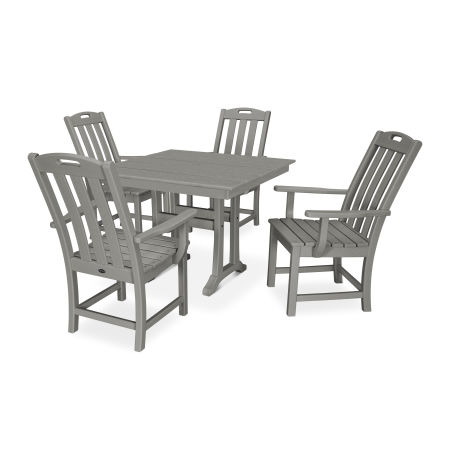 Yacht Club 5-Piece Farmhouse Arm Chair Dining Set in Stepping Stone