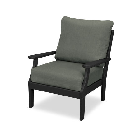 Yacht Club Deep Seating Chair in Charcoal Black / Cast Sage