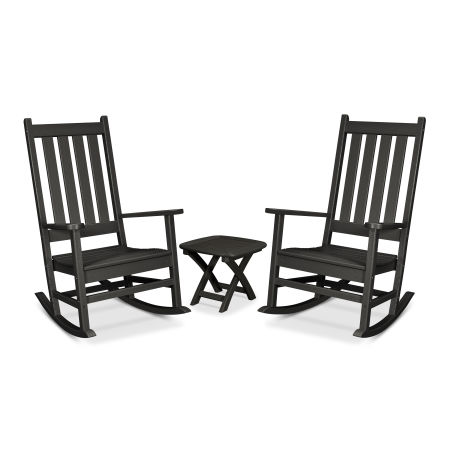 Cape Cod 3-Piece Porch Rocking Chair Set in Charcoal Black