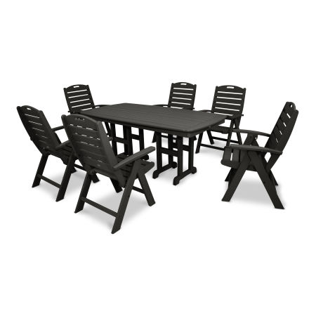 Yacht Club Highback 7-Piece Dining Set in Charcoal Black