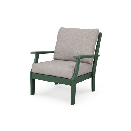 Yacht Club Deep Seating Chair in Rainforest Canopy / Weathered Tweed