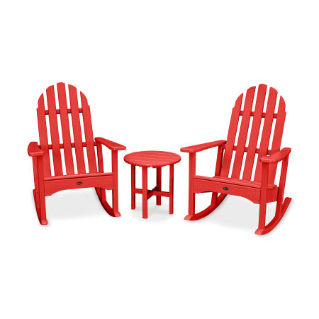 Cape Cod 3-Piece Adirondack Rocker Set in Sunset Red