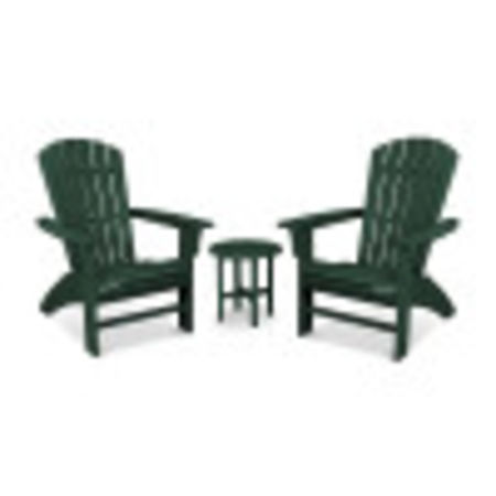 Yacht Club 3-Piece Curveback Adirondack Set in Rainforest Canopy