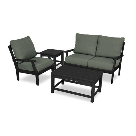 Yacht Club 4-Piece Deep Seating Set in Charcoal Black / Cast Sage