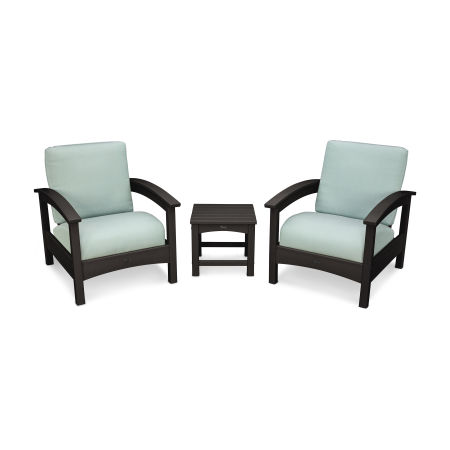Rockport Club 3 Piece Deep Seating Conversation Set in Charcoal Black / Spa