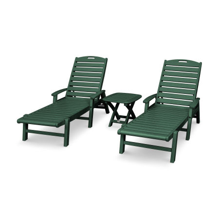 Yacht Club 3-Piece Chaise Set in Rainforest Canopy