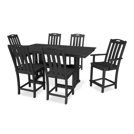 Yacht Club 7-Piece Farmhouse Counter Set in Charcoal Black