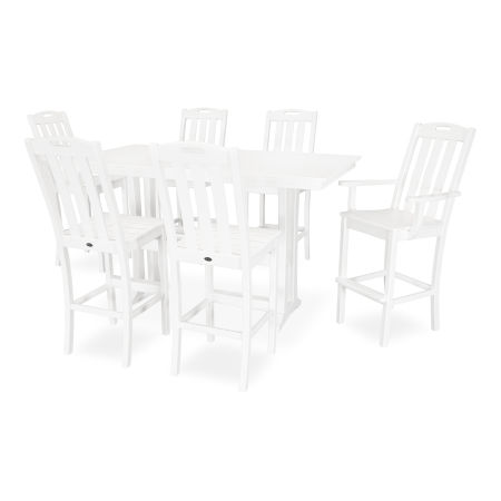 Yacht Club 7-Piece Farmhouse Bar Set in Classic White