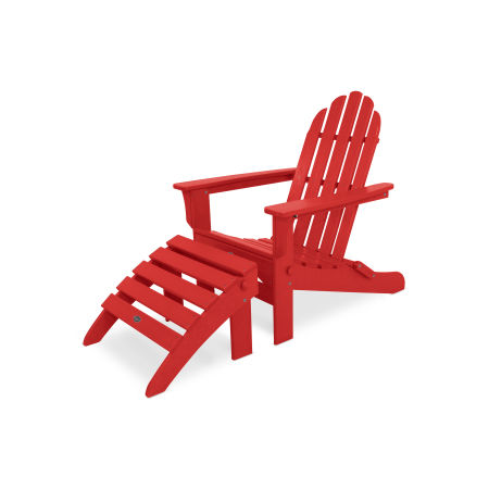 Cape Cod 2-Piece Folding Adirondack Seating Set in Sunset Red