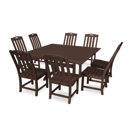Yacht Club 9-Piece Farmhouse Side Chair Dining Set in Vintage Lantern