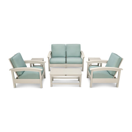 Rockport Club 6 Piece Deep Seating Conversation Set in Sand Castle / Spa