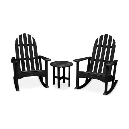 Cape Cod 3-Piece Adirondack Rocker Set in Charcoal Black