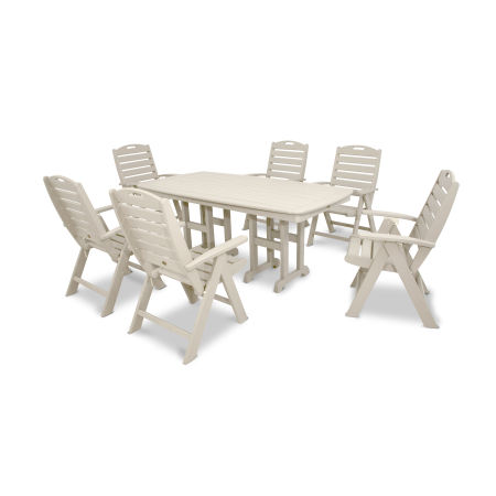 Yacht Club Highback 7-Piece Dining Set in Sand Castle