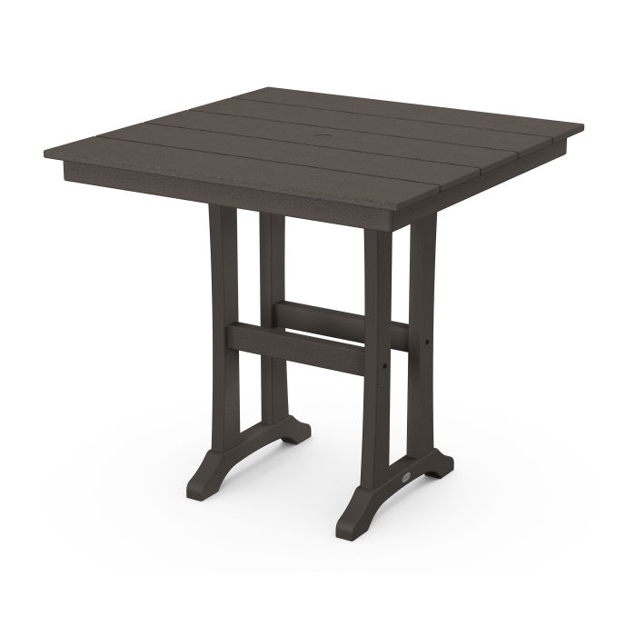 """Farmhouse Trestle 37"""" Counter Table in Vintage Finish"""